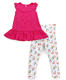 Mothercare Cap Sleeves Solid Color Top And Printed Leggings Set - Pink White