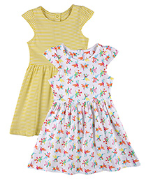 Mothercare Cap Sleeves Stripe And Bird Print Dress Pack Of 2 - White & Yellow