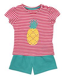 Mothercare Half Sleeves Striped T-Shirt And Shorts Set - Pink