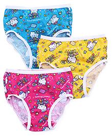 Hello Kitty Panties Printed Set Of 3 - Blue Yellow Dark Pink