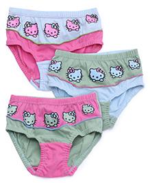 Hello Kitty Panties Printed Set Of 3 - Green Blue Pink