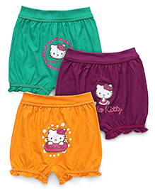 Hello Kitty Bloomers With Print Set Of 3 - Yellow Green Violet