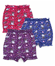Hello Kitty Printed Bloomers Pack Of 3 - Purple Blue Pink