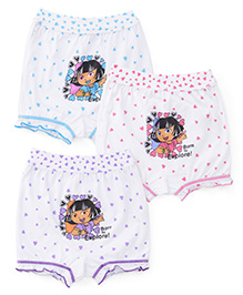 Dora Bloomers Heart & Born to Explore Print Pack Of 3 - Blue Pink Purple