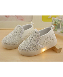 Kidslounge Sneakers With LED Lights And Sequins - White