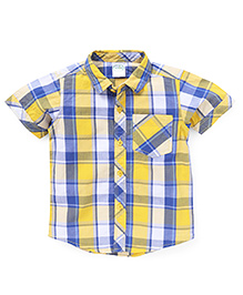 Babyhug Half Sleeves Shirt Checks Print - Yellow