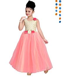 Aarika Flower Applique Princess Ball Gown - Peach