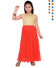 Aarika Sequence Neckline Pleated Gown - Beige & Red
