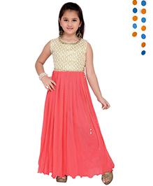 Aarika Sequence Neckline Pleated Gown - Cream & Pink