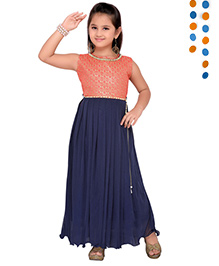 Aarika Sequence Neckline Pleated Gown - Pink & Navy Blue