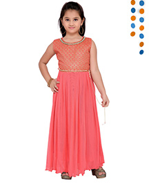 Aarika Sequence Neckline Pleated Gown - Pink