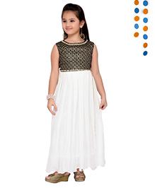 Aarika Sequence Neckline Pleated Gown - Navy Blue & Cream