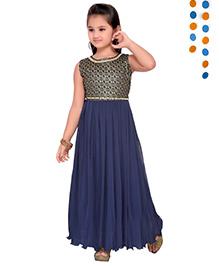 Aarika Sequence Neckline Pleated Gown - Navy Blue