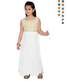 Aarika Sequence Neckline Pleated Gown - White