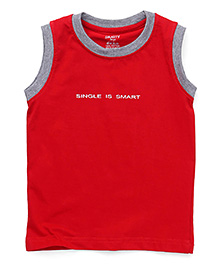 Smarty Sleeveless T-Shirt Printed - Maroon