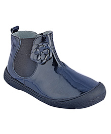 Beanz Kyla Mid Boot Patent Leather Ankle Boot - Blue & Black
