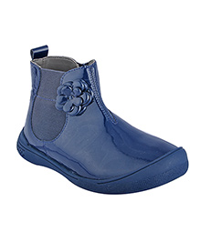 Beanz Kyla Mid Boot Patent Leather Ankle Boot - Midnight Blue