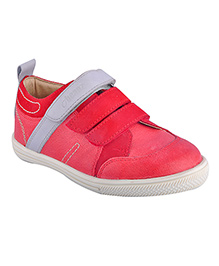 Beanz Genuine Leather Triple Velcro Shoe - Red