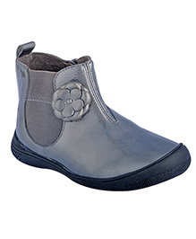 Beanz Kyla Mid Boot Patent Leather Ankle Boot - Grey