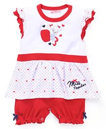 Wonderchild Half Sleeves Romper - Red