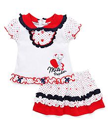 Wonderchild Printed 2 Piece Skirt Set - White & Red
