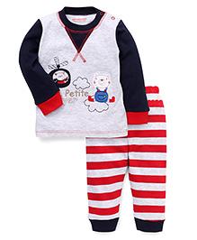 Wonderchild Printed Top & Pant Set - Grey & Red