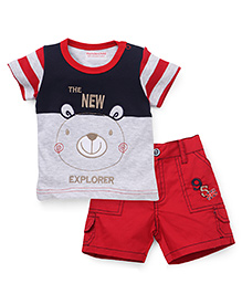 Wonderchild T-Shirt And Shorts Set Teddy Patch - Grey Blue Red