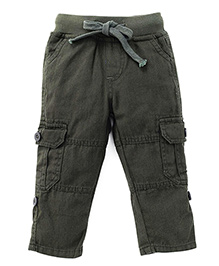 Kiddopanti Pull Up Cargo Pants With Ribbed Waist - Miltary Green