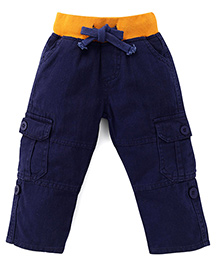 Kiddopanti Pull Up Cargo Pants With Ribbed Waist - Navy Yellow