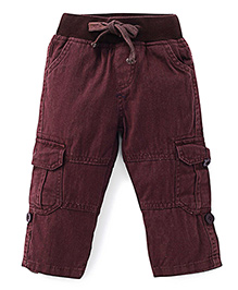Kiddopanti Pull Up Cargo Pants With Ribbed Waist - Brown