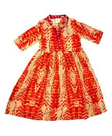 Kiddopanti Long Sleeves Tie & Dye Ethnic Look Dress - Orange