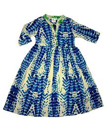 Kiddopanti Long Sleeves Tie & Dye Ethnic Look Dress - Blue