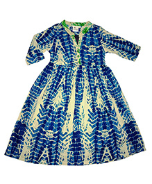 Kiddopanti Long Sleeves Tie & Dye Ethnic Look Dress - Blue