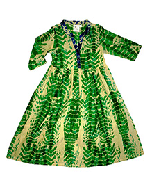 Kiddopanti Long Sleeves Tie & Dye Ethnic Look Dress - Green