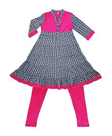 Kiddopanti Three Fourth Sleeves Kurti And Leggings - Blue Dark Pink