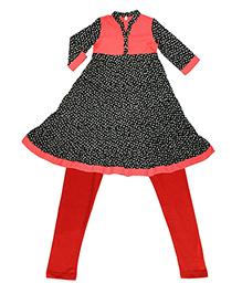 Kiddopanti Layered Kurta With Churidar Set - Red Black
