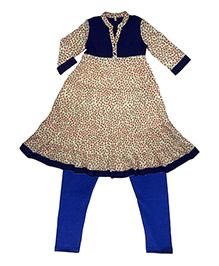 Kiddopanti Layered Kurta With Churidar Set - Cream Blue
