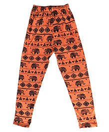 Kiddopanti Full Length Leggings Elephant Print - Peach