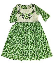 Kiddopanti Three Fourth Sleeves Kurti Floral Embroidery - Green White