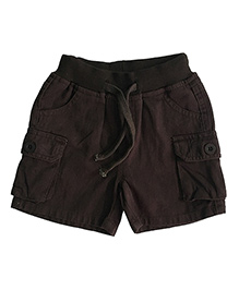 Kiddopanti Cargo Shorts With Drawstring - Brown