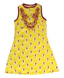 Kiddopanti Sleeveless Printed Kurti - Yellow