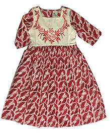 Kiddopanti Three Fourth Sleeves Kurti Floral Embroidery - Dark Pink White