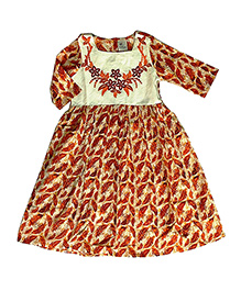 Kiddopanti Three Fourth Sleeves Kurti Floral Embroidery - Orange White