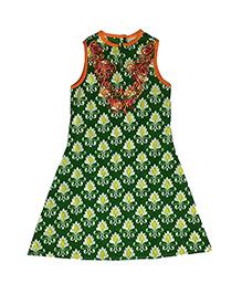 Kiddopanti Sleeveless Printed Kurti - Green