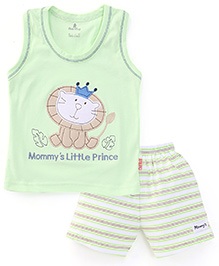 Child World Sleeveless T-Shirts And Shorts Set Lion Patch - Green