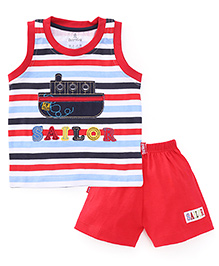 Child World Sleeveless T-Shirts And Shorts Set Sailor Patch - Red