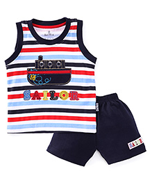 Child World Sleeveless T-Shirts And Shorts Set Sailor Patch - Navy Blue
