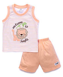 Child World Sleeveless T-Shirts And Shorts Set Lion Patch - Peach