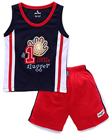 Child World Sleeveless T-Shirts And Shorts Set Little Slugger Embroidery - Navy