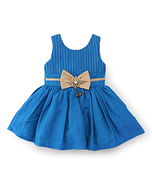 Babyhug Sleeveless Party Wear Frock With Bow Applique At Waistband - Blue